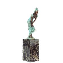 Weibliche Figur Kunstsammlung handgemachte Mädchen Dekor Messing Statue TPE-741