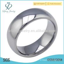 Alto polido homens espelho anel, espelho tungstênio prata anel mens