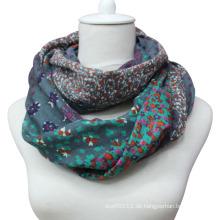Damenmode Baumwolle Voile Printed Infinity Schal (YKY1013)