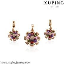 64155 xuping fashion wholesale 18k delicat italian multicolor zircon stone gold plated jewelry sets