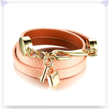 Stainless Steel Jewellery Leather Jewelry Leather Bracelet (LB479)