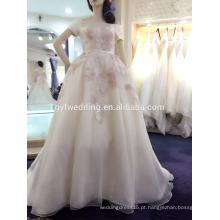 2016 Light Champagne Empire Design de flor bordado elegante Handmade Mancha Long Sleeve Women Evening Dress A177-1