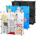 DIY Storage Cube Organizer Plastic Closet Shelf 6 Cube Bookcase Cabinet Black