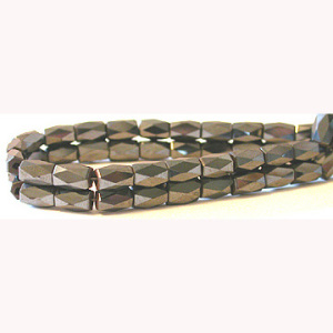 Hematite 18 Faced Tube Beads 5X8MM Grade AB