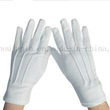Gants d'étiquette blanche de noir de portier doux de polyester d'OEM