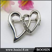 Elegante cruz doble corazón broche para las mujeres # 5821