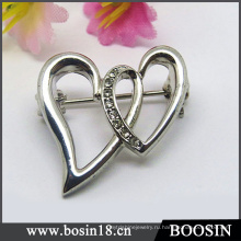 Элегантный двойной крест в форме сердца брошь для женщин #5821