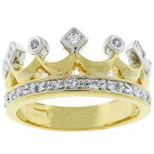 Venta al por mayor Kate Bissett de dos tonos de la corona de oro de moda anillo de zirconia cúbicos anillo Fabricante