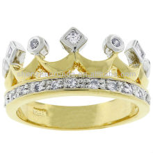 Wholesale Kate Bissett Two-tone Crown Fashion Gold Jewelry Cubic Zirconia Ring Manufacturer