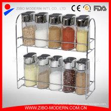 Hochwertige Kleine Mini-Glas-Gläser Clear Round Glass Spice Jar mit Spice Rack