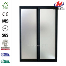Bronze Frame Mystique Glass Aluminum Interior Sliding Door