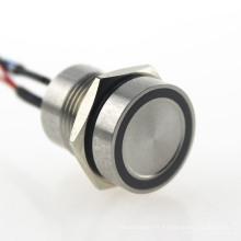 IP68 a prueba de agua anillo de acero inoxidable azul LED enganche interruptor piezoeléctrico de 16 mm
