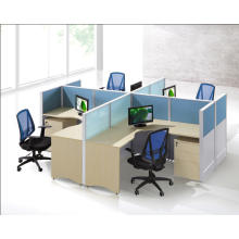 square 4 people brisk routine office partition with drawer