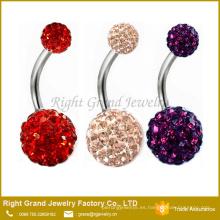 Moda Shamballa Crystal Rhinestones Cuerpo del botón del vientre rojo púrpura