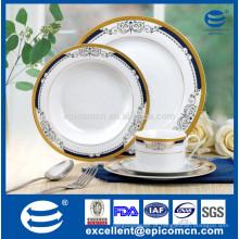 Super alta qualidade de ouro conjunto de jantar de porcelana redonda
