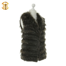 Genuine Women Classic Style Knitted Rabbit Fur and Raccoon Fur Vest