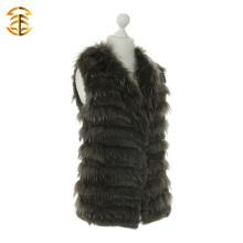Подлинная женщин классический стиль трикотажные мех кролика и енота меховой жилет