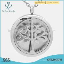 Colgante de plata del perfume del árbol de la vida, colgante aromatherapy del perfume del acero inoxidable