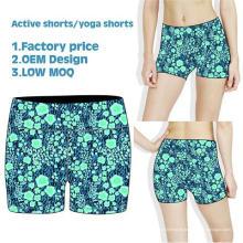 O desgaste sublimado do esporte, shorts secos da compressão do ajuste, mulheres dança o short