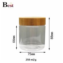 emballage cosmétique 500ml clair animal familier pot avec couvercle en bambou pour crème