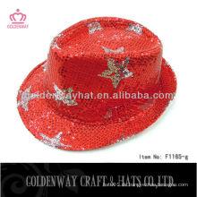 Großhandel Pailletten Fedora Hut mit Sternen