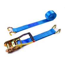 """2"""" 5 Ton 50mm OEM Logo Printing Finger Handle Ratchet Buckle Tie Down Straps With 2 Inch Close Rave Hooks"""