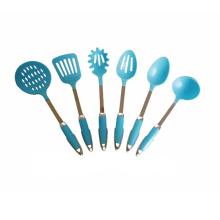 Juego de utensilios de cocina de nylon azul 6 utensilios de cocina