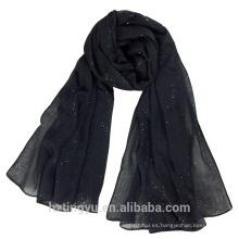 Nuevo Diseño 180 * 90 cm llanura Venta de lino de algodón chal bufanda shimmer mujeres hijab