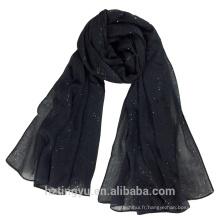 Nouveau Design 180 * 90cm plaine Top vente coton foulard en lin châle shimmer femmes hijab