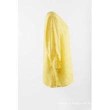 Льняная сплошная блуза желтого цвета