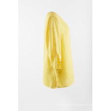 Chemisier uni en lin de couleur jaune