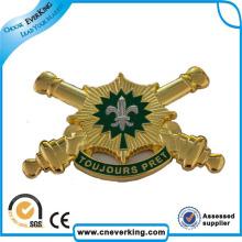 Personnalisé en gros avec le nom militaire de bouton en métal épinglette Badge