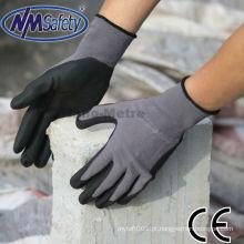 NMSAFETY 15 Gauge nylon forro de nylon revestido nitrilo de malha luva de bicicleta de trabalho
