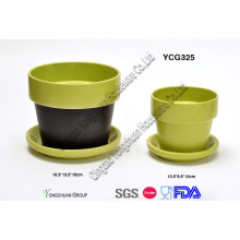 Ceramic Two Tone Decorative Plant Pots Set