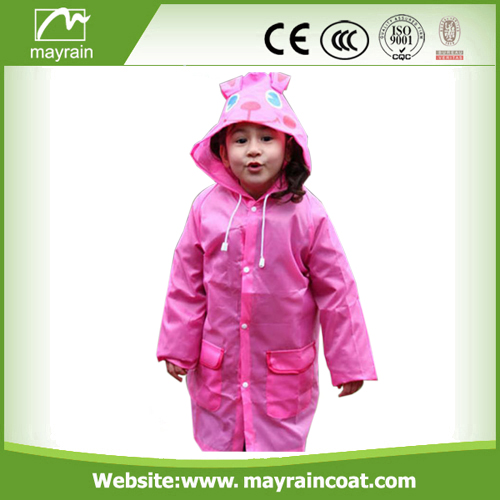 Kids Polyester Pink Rainsuit