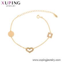 75777 xuping 18k banhado a ouro coração forma elegante estilo moda pulseira para mulheres