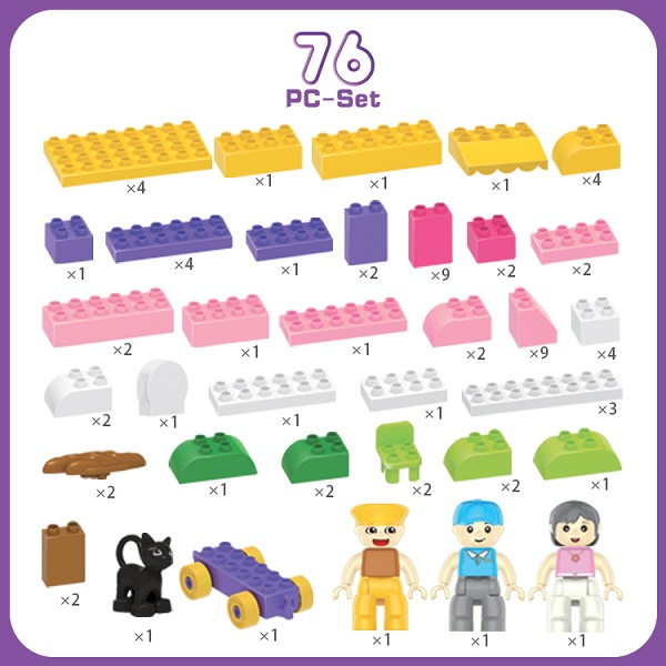76PCS Plastic Funny Bakery Building Blocks
