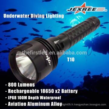 JEXREE Factory 3 * XML2- T6 led chip imperméable à l'eau IPX8 LED plongée Lampe de poche