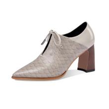 Snaking Printing Lace up Fashion Dress Block Heel Shoes Latest New Stylish Genuine Leather for Women