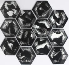 黒い六角形結晶モザイク