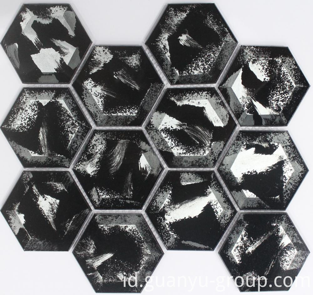 Black Classical Hexagon Crystal Mosaic
