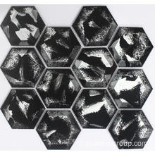 Hitam Hexagon Crystal mosaik