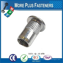 Made in Taiwan Threaded Insert Knurled Flat Head Open Head Rivet Nut