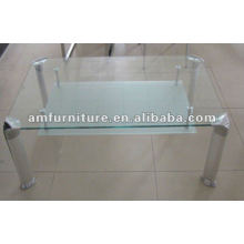 журнальный столик с закаленного стекла сверху и матовое полка+алюминиевых труб