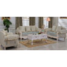 Sofá de tecido com moldura de madeira para sofá e mesa lateral (D92B)