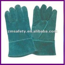Guante de soldadura de cuero de cromo verde / guante de trabajo ZMR372