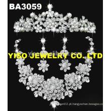 Conjunto de jóias de casamento pingente de strass floral