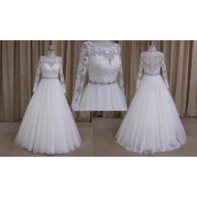 M807 Hot Sale Round Neckline Muslim Lace Wedding Dress 2016