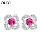 Fashion jewelry flower design 925 sterling silver hollow four leaf with diamond stud earrings for women