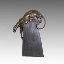 Животный бронзовый скульптурный лев / леопард, резьба по дереву, латунная статуя Tpal-466